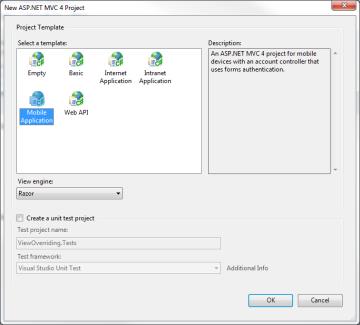 New ASP.NET MVC 4 Project